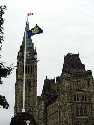 Flag of the Commonwealth of Nations - The Commonwealth flag flies at the Parliament of Canada in Ottawa