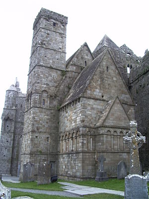 Rock of Cashel - Cormac's Chapel with parts of the cathedral on either side
