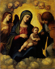 Madonna with child and two angel musicians