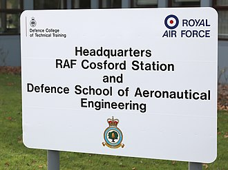 Heraldic badges of the Royal Air Force - Sign outside the station headquarters at RAF Cosford; the station badge is at the bottom