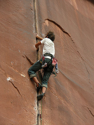 Crack climbing - Image: Coyne Crack 5.11+ Supercrack Buttress Indian Creek