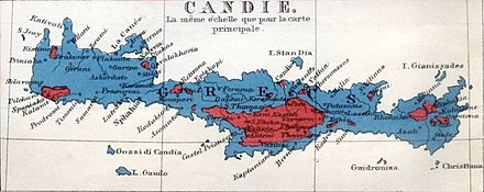 Greek Orthodox (blue) and Cretan Muslim/Turkish (red) ethnic makeup of the island in 1861 Crete - ethnic map, 1861.jpg
