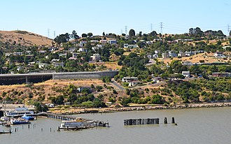 Crockett, California - Looking south towards Crockett from Carquinez Strait. July 14, 2010. Courtesy Federico Pizano