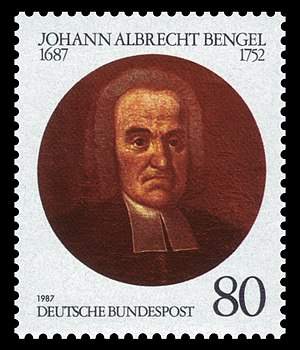 Johann Albrecht Bengel - Stamp issued by the Deutsche Bundespost to commemorate the 300th anniversary of Bengel's birth