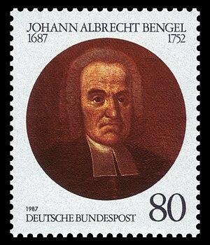 Johann Albrecht Bengel - Stamp issued by the Deutsche Bundespost to commemorate the 300th anniversary of Bengel's birth