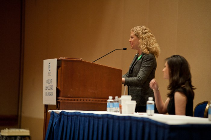 DNC Chair Rep. Debbie Wasserman Schultz speaks to College Democrats