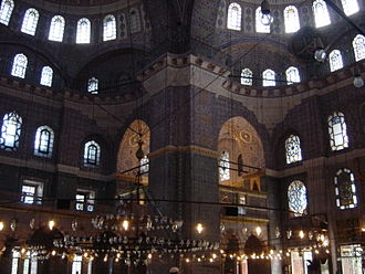 Safiye Sultan - Interior design of Yeni Mosque in Eminönü, Istanbul. The construction began during Safiye's regency.