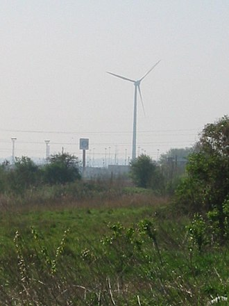 Hornchurch Marshes - Image: Dagenham beam park and turbine 2
