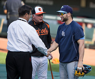 Dan Duquette - Duquette (left) with Buck Showalter (middle) and Luke Scott (right) before a game on May 17, 2013