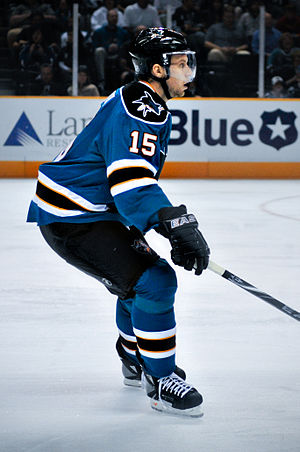 Dany Heatley - Heatley in a Sharks preseason game in 2009