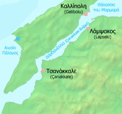 Χάρτης των στενών, με τις κύριες πόλεις
