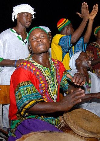 Dashiki - A musician in Ghana, dressed in a dashiki