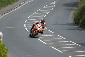 Bedstead Corner and The Nook, Isle of Man - TT Superbike rider at Bedstead Corner in 2013