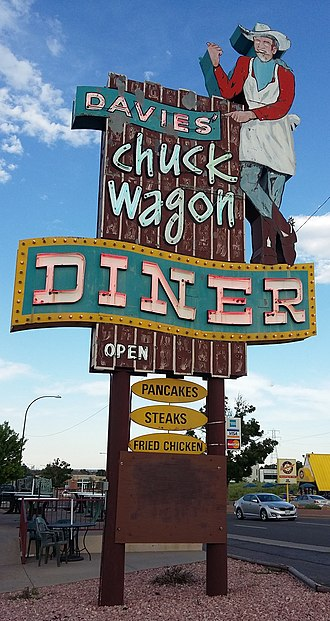 Colfax Avenue - Neon sign of Davies' Chuck Wagon Diner.