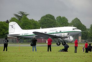 Douglas DC-3 - A former military C-47B of Air Atlantique taking off at RAF Hullavington (2005)