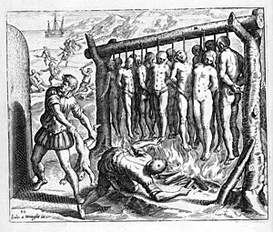 Genocide of indigenous peoples - A 16th-century illustration by Flemish Protestant Theodor de Bry for Las Casas's Brevisima relación de la destrucción de las Indias, depicting Spanish atrocities during the conquest of Cuba