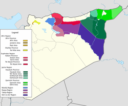 The three regions of the Autonomous Administration of North and East Syria: Afrin Region (orange), Euphrates Region (red) and Jazira Region (green).