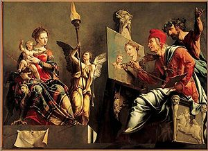 Haarlem Guild of St. Luke - Maarten van Heemskerck painted this altarpiece, Saint Luke painting the Virgin before he left Haarlem for Italy in 1532.
