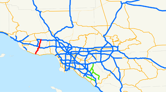 California State Route 23 - Decker Freeway, in red.
