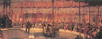 Coronation Park, Delhi - The Delhi Durbar of 1877. Lord Lytton, the Viceroy of India, is seated on the dais to the left.