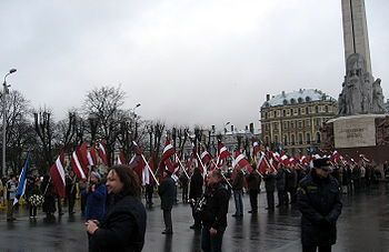 Some events of the controversial Latvian Legion Day traditionally take place at the Freedom Monument‎
