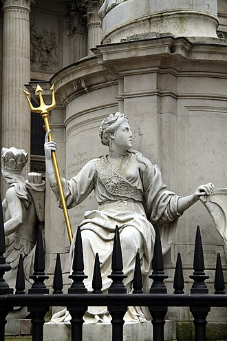 Statue of Queen Anne, St Paul's Churchyard - Image: Detail of Anne of Great Britain statue, St Paul's in spring 2013 (2)