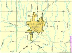 Detailed map of Ellsworth, Kansas