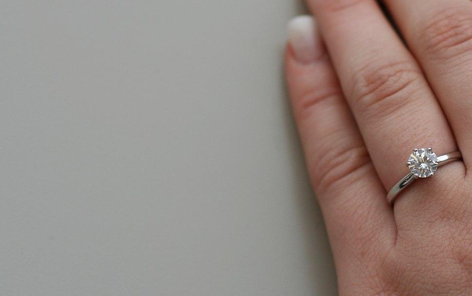 Diamond engagement ring on woman hand 6313
