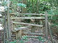 Difficult stile in the woods at Iron Hill - geograph.org.uk - 1477958.jpg