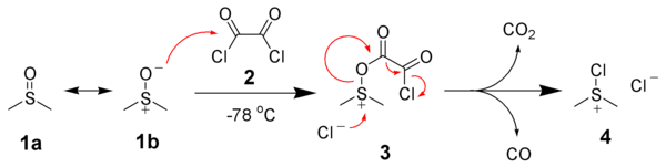 Dimethylchlorosulfonium chloride formation.