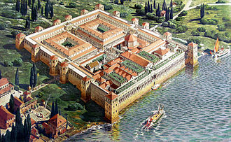 Split, Croatia - Reconstruction of the Palace of the Roman Emperor Diocletian in its original appearance upon completion in 305, by Ernest Hébrard