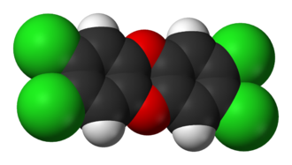 Space-filling model of 2,3,7,8-tetrachlorodibenzodioxin Dioxin-3D-vdW.png
