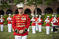 Director of the U.S. Marine Corps Drum and Bugle Corps, Maj. B. J. Dix, performs during the retirement ceremony in honor of Lt. Gen. George J. Flynn, Jr., not shown, at Marine Barracks Washington in Washington 130509-M-KS211-075.jpg