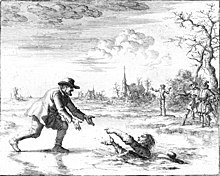 An etching of a man leaning down to reach another man who has fallen through broken ice. Several bystanders are in the background, as well as a church.