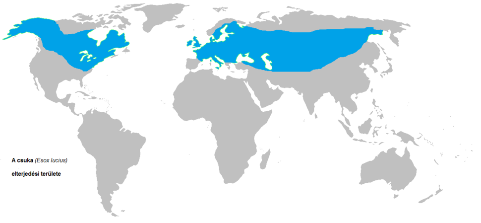 Distribution map of Esox lucius