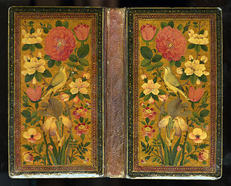 Diwan (poetry) - Rose and nightingale on the binding of a Divan of Hafiz (Iran, 1842)