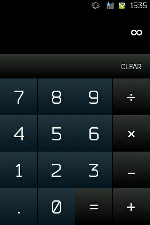 Division by zero - Division by zero on Android 2.2.1 calculator shows the symbol of infinity.