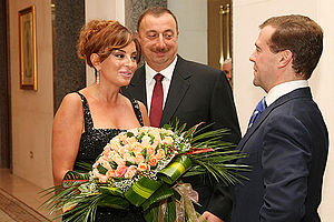 Azerbaijan–Russia relations - Dmitry Medvedev is greeted by President of Azerbaijan Ilham Aliev and his wife Mehriban Aliyeva