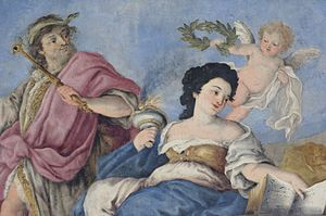 Marie Jeanne Baptiste of Savoy-Nemours - Triumph of virtue of Madama Reale by Domenico Guidobono in the Palazzo Madama