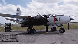 Black operation - This US Douglas A-26 C Invader was painted in fake Cuban Air Force colors for the military invasion of Cuba undertaken by the USAF sponsored paramilitary group Brigade 2506 in April 1961.