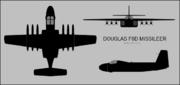 Douglas F6D Missileer three-view silhouette