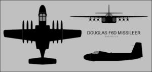 Douglas F6D Missileer - Three-view silhouette
