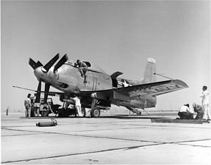 Allison T40 - Second Douglas A2D being prepared for its first flight in April 1952.