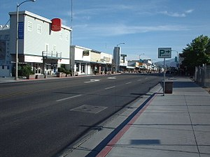 Bishop, California - Downtown Bishop looking south along US 395