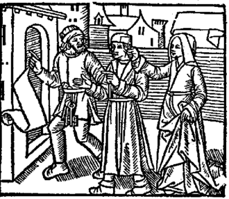 John Fian - Dr. Fian (center) showing penitence for his wicked life to his jailer and chaplain the morning before his escape from prison. From Daemonologie; Newes from Scotland (1957).