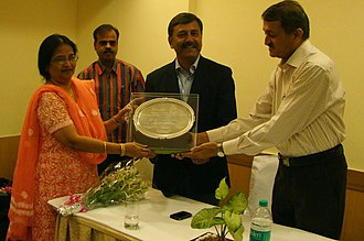 Dulari Qureshi - Dr Dulari Qureshi receiving Life Time Achievement Award for promotion of Tourism in Maharashtra, by Maharashtra State, Chamber of Commerce, Industries and Agriculture