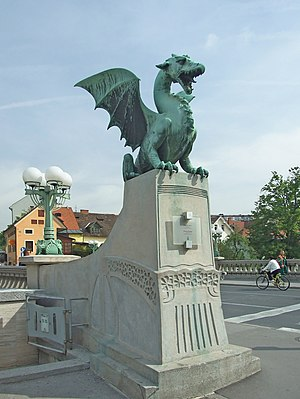Dragon Bridge Statue in Ljubljana, Slovenia.