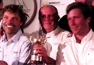 Dragon (keelboat) - The Winners of the 2011 Dragon Gold Cup: Markus Wieser, Sergey Pughchev and Matti Paschen with the Gold Cup.