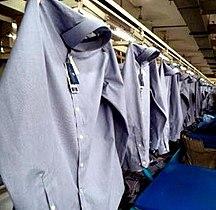 Bangladesh-Economy-Dress Shirt on Conveyor in a RMG factory of Bangladesh