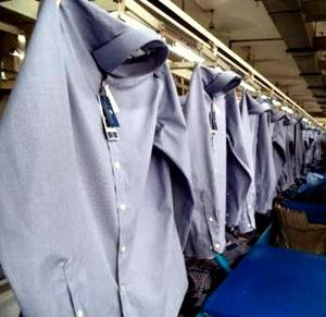 Dress Shirt on Conveyor in a RMG factory of Bangladesh